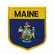 Eastern State Flag Embroidered Patch Shield - Maine
