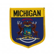 Eastern State Flag Embroidered Patch Shield - Michigan