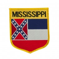 Eastern State Flag Embroidered Patch Shield - Mississippi