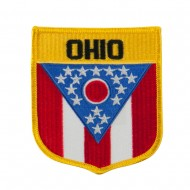 Eastern State Flag Embroidered Patch Shield - Ohio