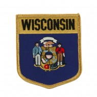 Eastern State Flag Embroidered Patch Shield - Wisconsin
