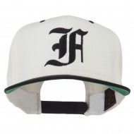 Old English F Embroidered Flat Bill Cap - Natural Black