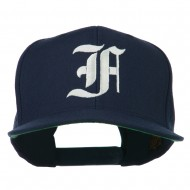 Old English F Embroidered Flat Bill Cap - Navy