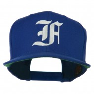 Old English F Embroidered Flat Bill Cap - Royal