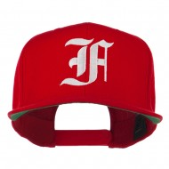 Old English F Embroidered Flat Bill Cap - Red