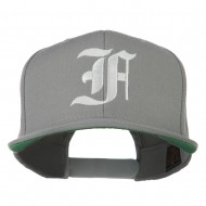 Old English F Embroidered Flat Bill Cap - Silver