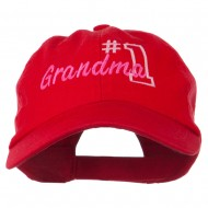 Number 1 Grandma Embroidered Cotton Cap - Red