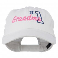 Number 1 Grandma Embroidered Cotton Cap - White
