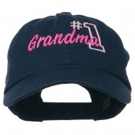 Number 1 Grandma Embroidered Cotton Cap - Navy