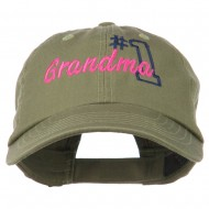 Number 1 Grandma Embroidered Cotton Cap - Olive