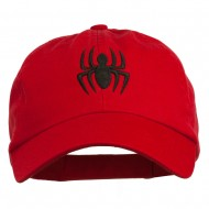 Halloween Spider Embroidered Pet Spun Washed Cap - Red