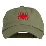 Halloween Spider Embroidered Pet Spun Washed Cap - Olive