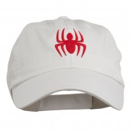 Halloween Spider Embroidered Pet Spun Washed Cap - White