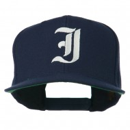 Old English I Embroidered Flat Bill Cap - Navy