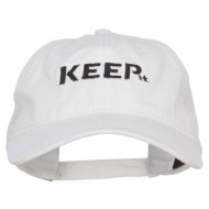 Keep It Embroidered Washed Cap - White