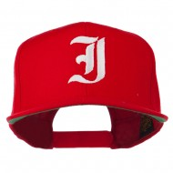 Old English I Embroidered Flat Bill Cap - Red