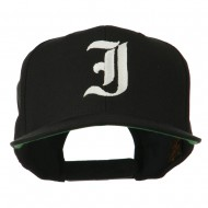 Old English I Embroidered Flat Bill Cap - Black