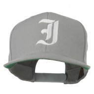 Old English I Embroidered Flat Bill Cap - Silver
