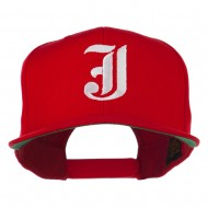 Old English J Embroidered Flat Bill Cap - Red