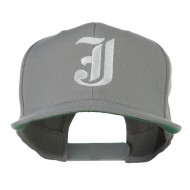 Old English J Embroidered Flat Bill Cap - Silver