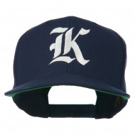Old English K Embroidered Flat Bill Cap - Navy