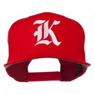 Old English K Embroidered Flat Bill Cap - Red