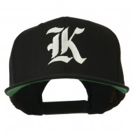 Old English K Embroidered Flat Bill Cap - Black