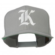 Old English K Embroidered Flat Bill Cap - Silver