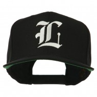 Old English L Embroidered Flat Bill Cap - Black