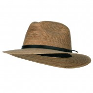 Men's Palm Braid Leather Band Fedora Hat - Dk Palm