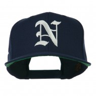 Old English N Embroidered Flat Bill Cap - Navy
