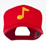 Eighth Note Music Symbol Embroidered Cap - Red
