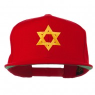 Jewish Star Embroidered Prostyle Snapback Cap - Red