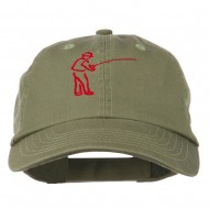 Fisherman Embroidered Pet Spun Washed Cap - Olive