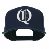 Old English Q Embroidered Flat Bill Cap - Navy
