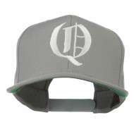 Old English Q Embroidered Flat Bill Cap - Silver
