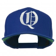 Old English Q Embroidered Flat Bill Cap - Royal