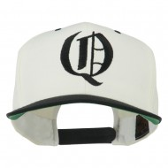 Old English Q Embroidered Flat Bill Cap - Natural Black