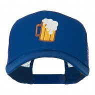 Beer Mug with foam Embroidered Trucker Cap - Royal