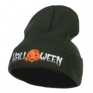 Halloween Monster Embroidered Long Beanie - Olive