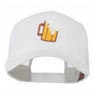 Beer Mug with foam Embroidered Trucker Cap - White