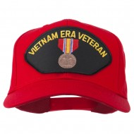 Vietnam ERA Veteran Patched Solid Cotton Twill Cap - Red