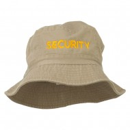 Security Embroidered Pigment Dyed Bucket Hat - Khaki