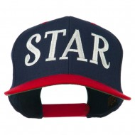 Star Embroidered Snapback Cap - Navy Red