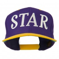 Star Embroidered Snapback Cap - Purple Gold
