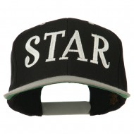 Star Embroidered Snapback Cap - Black Silver