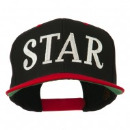 Star Embroidered Snapback Cap - Black Red