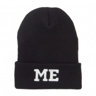 ME Maine State Embroidered Long Beanie - Black