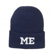 ME Maine State Embroidered Long Beanie - Navy