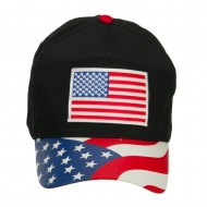 American Flag Patched Flag Visored Cap - Black